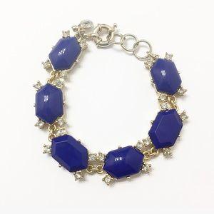 J. Crew Blue Multi Stone Gold Bracelet